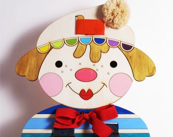 Gift Idea,For boys, For girls, Lacing doll, Clown, Buttons, Small Motors Activity, Wood doll, Dressing Skills Practice