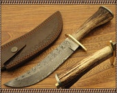 Handforged Damascus Hunting Knife , Survival Camping   Unique  , Antler  Leather sheath