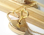 On Sale - Gold Polished Useable Heart Lock with Key Pendant Necklace (Include Two Chains for Lock and Key)