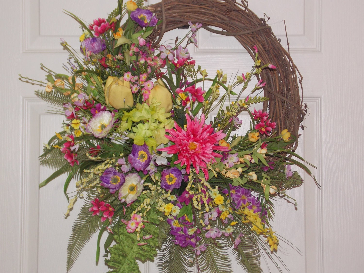 Spring Summer Door Or Wall Wreath With Flowers Of Purple