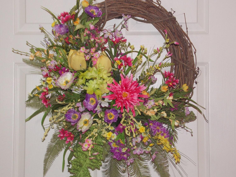 Spring Summer Door or Wall Wreath with Flowers of Purple