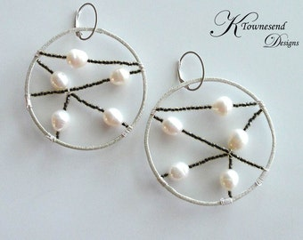 Silver Beaded Hoops With Freshwater Pearls, Leverback Component, Spiderweb Earring, Dreamcatcher Earring