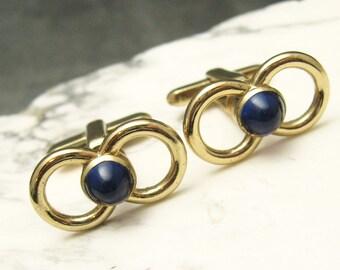Vintage Cufflinks Figure Eight Blue H305