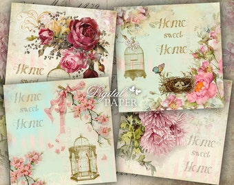 HOME sweet HOME - Coaster - 4 x 4 inch - set of 4 cards - digital collage sheet - printable JPG file