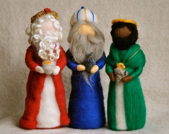 Nativity Scene Waldorf inspired needle felted Christmas dolls:The Wise men