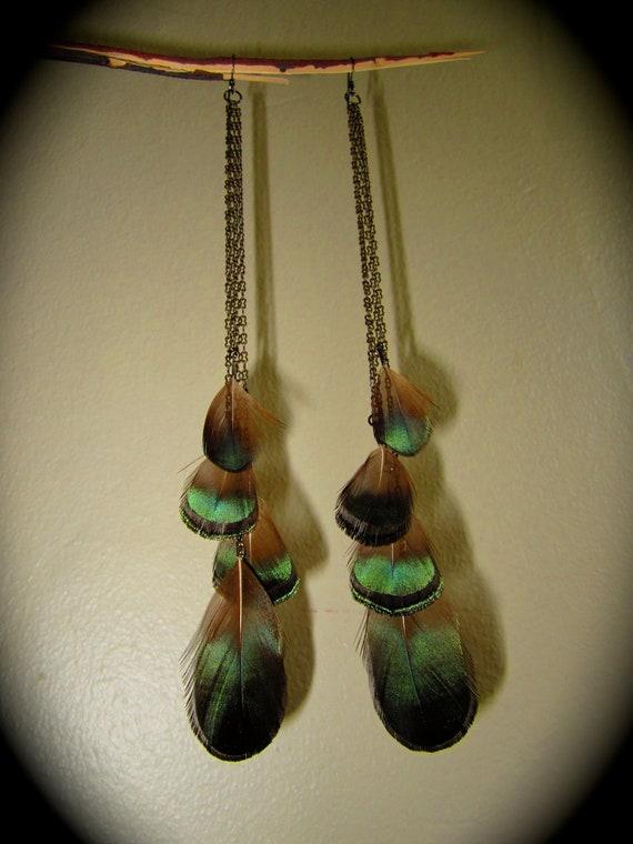 Dangle Feather Earrings- Emerald Mountain- Pheasant Feathers