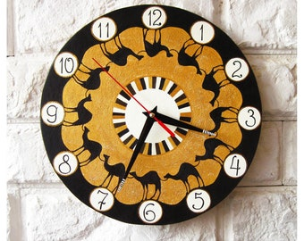 The Camelcade Wall Clock, Ethno, African, Camels, Modern wall clock with numbers, White wall clock, wood clock, black home decor, Office