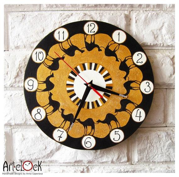 Camelcade wall clock ethno african camels modern wall for Modern wall clocks south africa