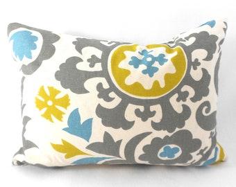Lumbar Pillow Cover ANY SIZE Decorative Pillows Grey Pillow Premier Prints Suzani Summerland Natural