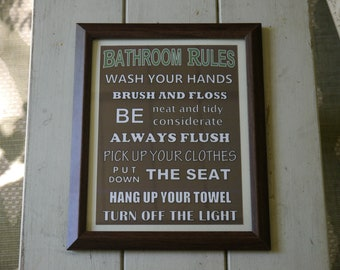 Bathroom Rules Framed Sign