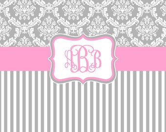 Damask and Stripe - Gray and Pink Shower Curtain - Any Color Band - Personalized Shower Curtain, Custom Monogrammed Curtain