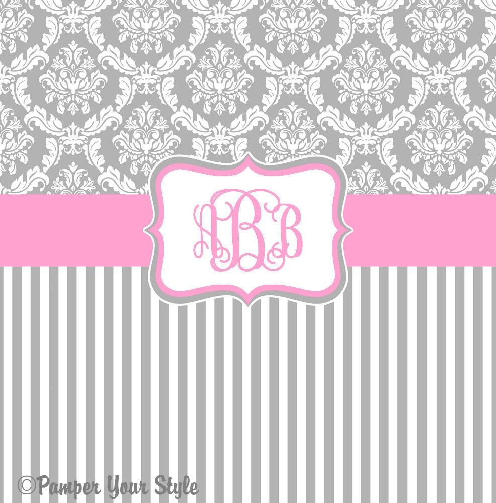 Damask And Stripe Gray And Pink Shower Curtain Any Color