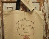 Je t' aime Paris  - French Inspired - Flea Market Tote- Cottage - Farmers Market - Canvas Swarvoski Crystals
