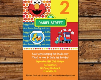 Elmo Boys Invitation, Elmo Boys Birthday, Elmo and Train Invitations, elmo boys party, Elmo Train Birthday, Elmo and Train Party Invitation
