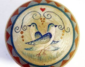 Shabby Chic Dresser - Cabinet Knobs. Love Birds Design. Hand painted. Turquoise-cream-yellow ochre. Vintage Look.