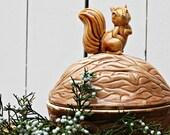 Vintage Ceramic Brown Nutty Squirrel Container
