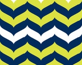 Chevron Wave Fabric by the Yard - Citron, Navy, and White
