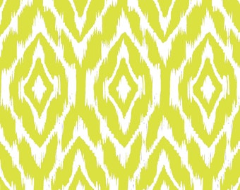 Ikat Fabric by the Yard - Citron and White
