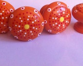 Orange, Yellow and Red  Dresser Knobs - Set of 4 FOUR