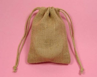 "48 5""x6"" Burlap Bags with Drawstring"