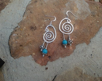 Hand Forged, hammered Silver Swirl Earrings with Silver and Turquoise dangles