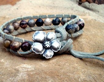 Gray Suede Wrapped Leather Bracelet with Multi Color Jasper Beads