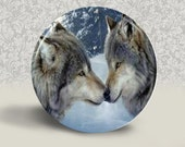 SET necklace pendant earrings GLASS tile wolf mates gift 25mm 20mm cabochon