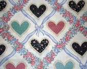 Cute Country Chic Hearts and Roses Floral Cotton Fabric