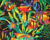 90s Funky Psychedelic Rainbow Fish Cotton Fabric Yardage