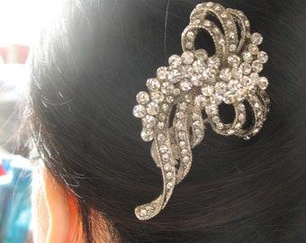 Wedding hair comb, Silver hair comb, Barrette clip, Bridal vintage style hair accessory, bridesmaids comb, wedding comb, crystals comb