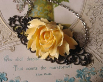 SALE SALE - Victorian style yellow rose bud antiqued brass romantic necklace