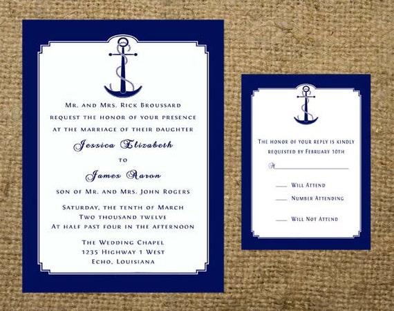 Cruise Wedding Invitations: Items Similar To Navy Nautical Anchor Beach Cruise