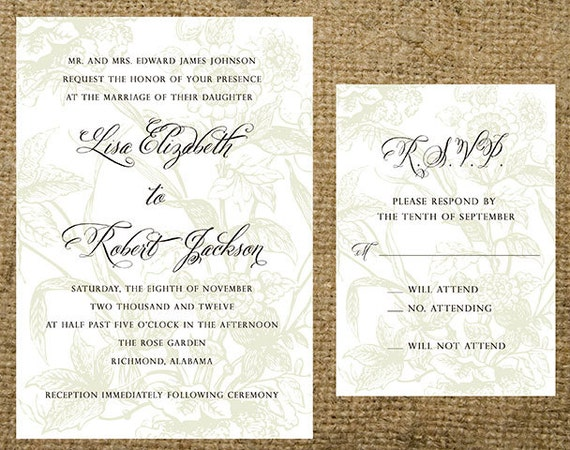 Outdoor Wedding Invitation Wording: Light Floral Garden Background