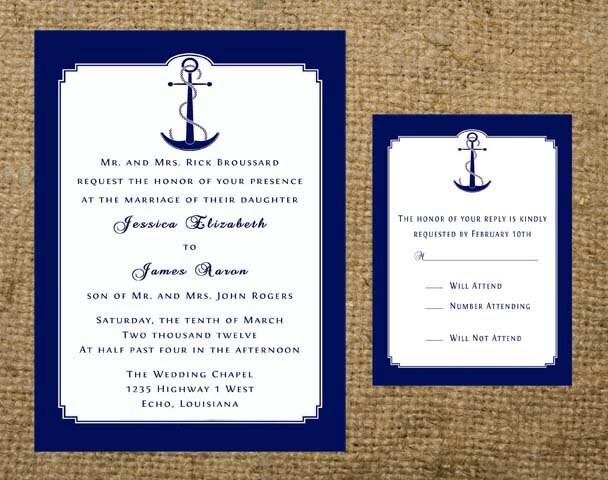 Nautical Wedding Invitation Wording: Navy Nautical Anchor Beach Cruise Destination Wedding