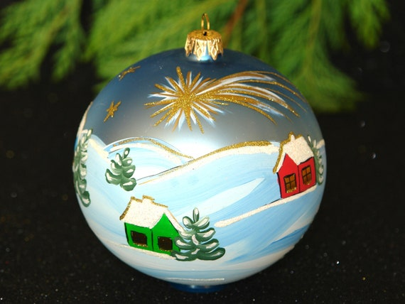 Items similar to glass christmas ornament hand painted