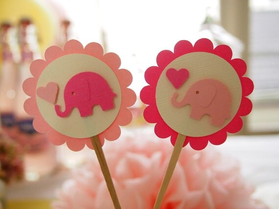 Pop-mounted Baby Elephant Design Cupcake Toppers, Perfect for Children's Birthday Parties and Baby Showers