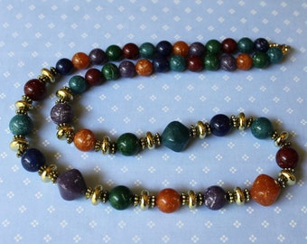 Vintage Plastic Multicolored Bead Necklace