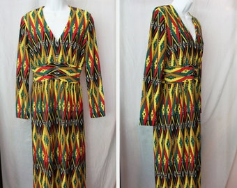 Vintage Yellow/Green/Red Geometric Maxi Dress - handmade, size large