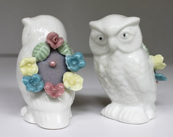 One (1) Vintage White Ceramic Owl Pin Cushion w/ Flower Accents