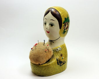 Rare Vintage Papier Mache Woman Pincushion and Bank - Made in Japan