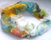Hand Painted 100 % silk Chiffon batik scarf gothic flowers