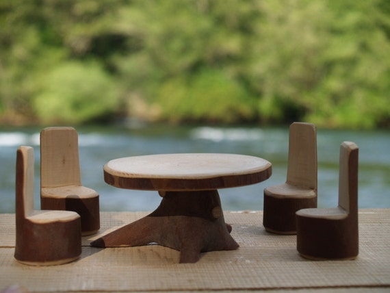Fairy Garden Furniture, Dining Room Set, Table and 4 Chairs, Fairy Dining Room Set.