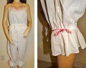 Vintage EVE STILLMAN Pajama Knickers Bloomers White & Pink Set Size S Item: 15324