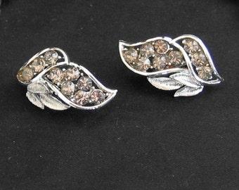 Mad Men Earrings - Coro Earrings - Smokey Colored Rhinestone - Clip On Earrings - Vintage Earrings