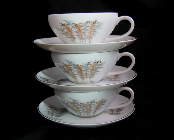 3 Fukagawa Cups & Saucers Gold Bamboo - ARITA 901 China Japan - Japanese Porcelain