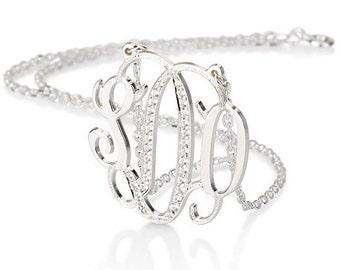 Monogram necklace - 1.25 inch Personalized Monogram - 925 Sterling silver with Swarovski Stones