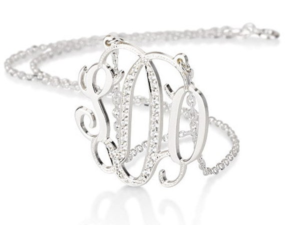 Monogram necklace - 1 .25inch Personalized Monogram - 925 Sterling silver with Swarovski Stones