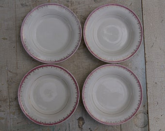 Lot Of 4 1940s American Limoges Soup Bowls With The Buckingham Pattern