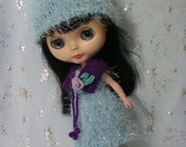SALE Blythe blue plush outfits, knitted hat, dress, crochet shawl and boots
