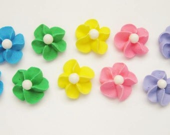 200 Rainbow Royal Icing Flowers with White Sugar Pearl Center